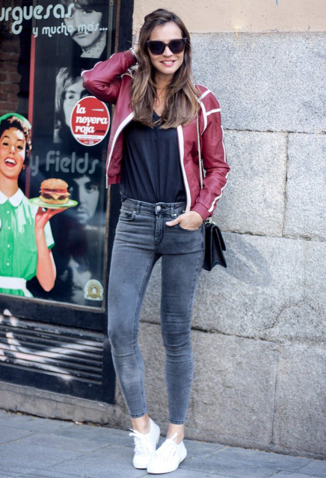 Red Leather Jacket with SkinnyJeans