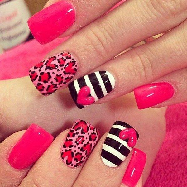Red Leopard Print Nail Design