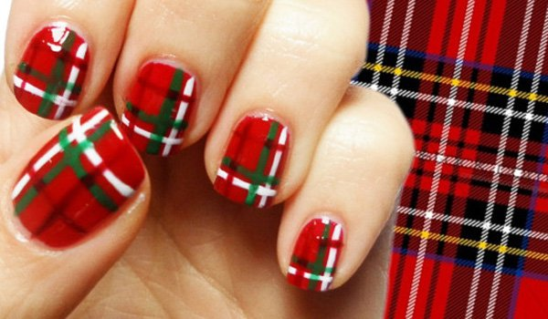 Red Plaid Nail Design