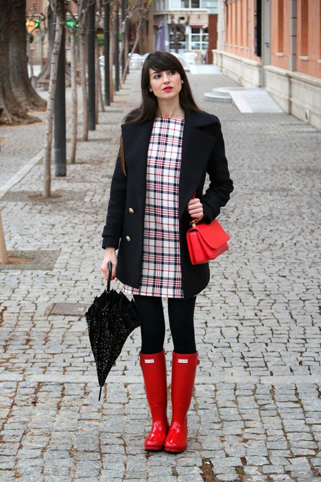 Red Rainy Boots with Tartan Dress