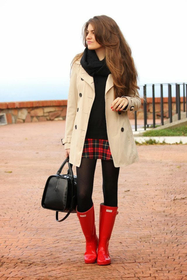 Red Rainy Boots with Trench Coat