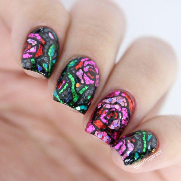 Rose Glitter Nail Design