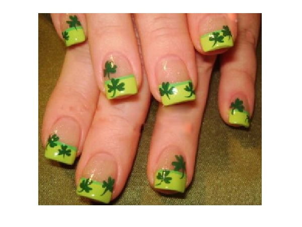 Shamrock Nails with Light Green Tips