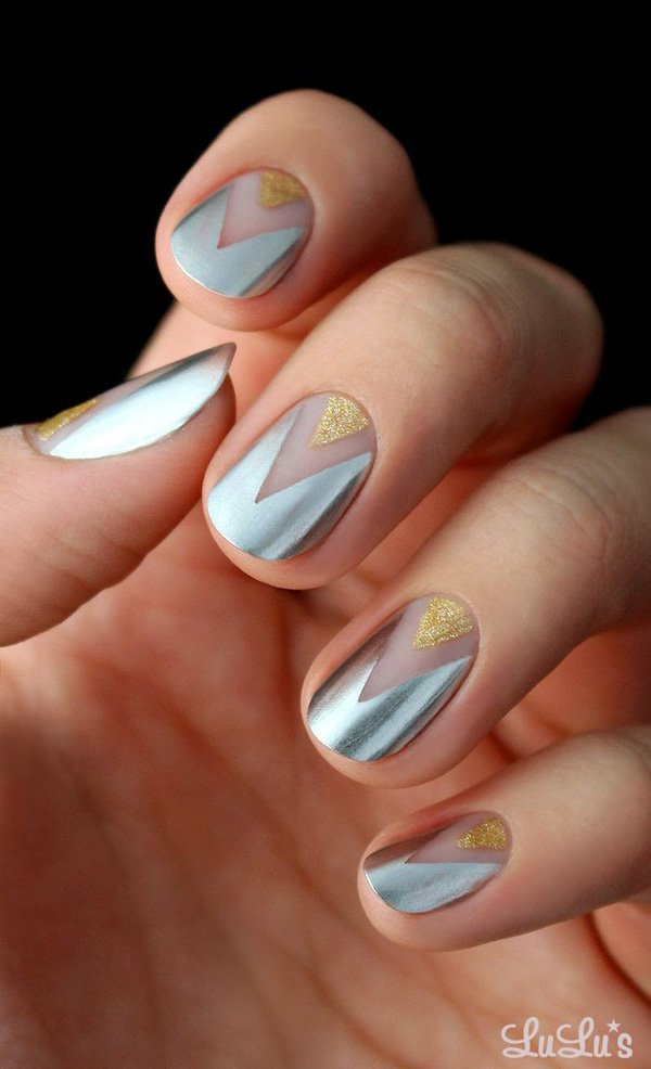 Silver And Gold Nail Design