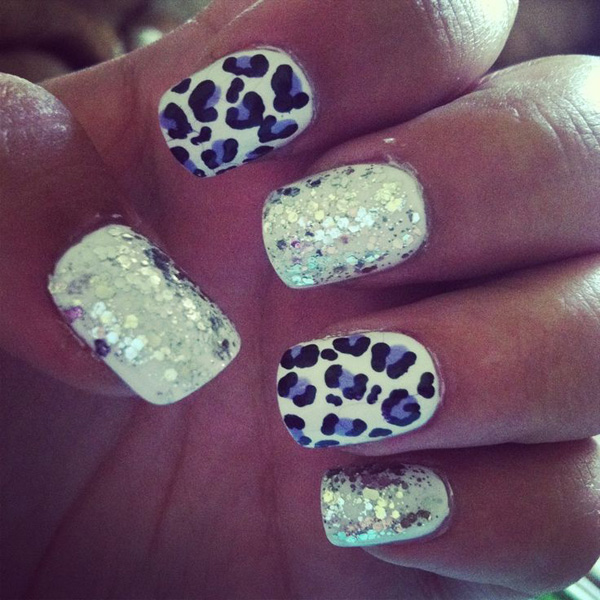 Sparkly Leopard Print Nail Design