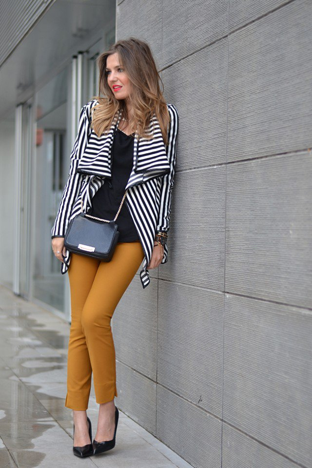 Striped Coat with Skinny Jeans