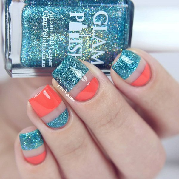 Striped Glitter Nail Design