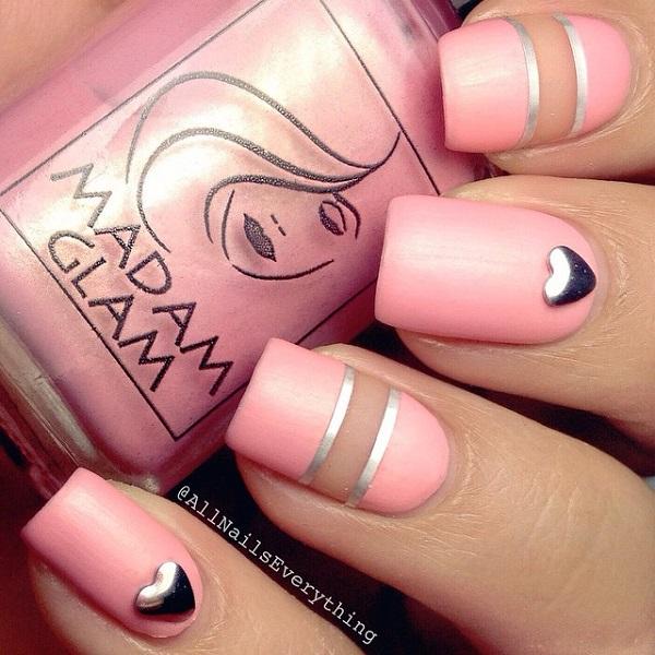 Striped Pink Nail Design