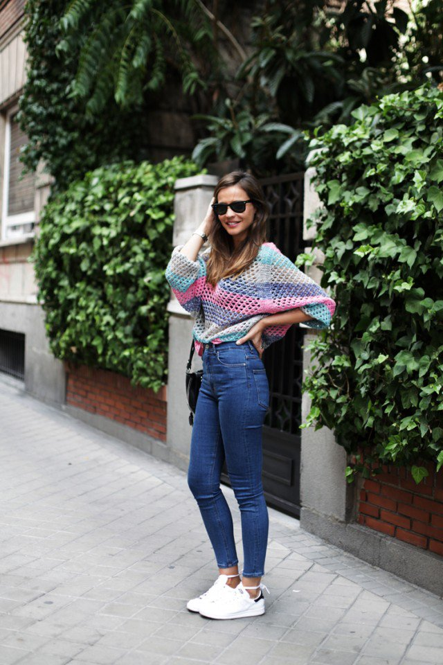 Striped Sweater and High-Waisted Jeans
