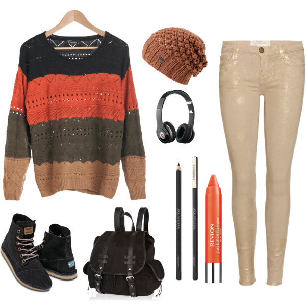 Striped Sweater with Beige Jeans