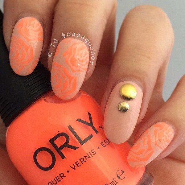 Studded Orange Nail Design