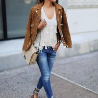 Suede Jacket with Skinny Jeans