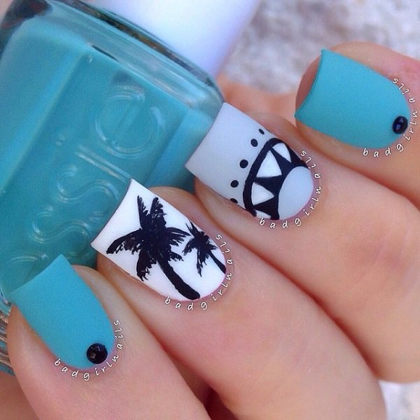 29 adorable blue nail designs for 2018 pretty designs summer blue nail design prinsesfo Choice Image