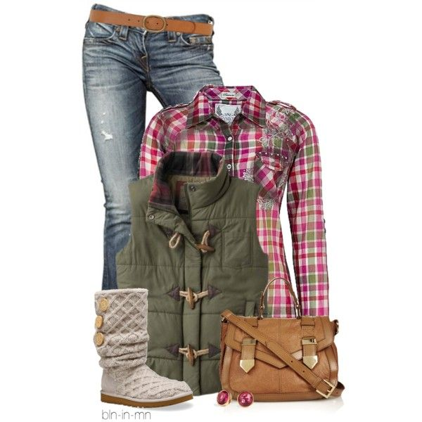 Tartan Shirt and Knit Sweater Boots