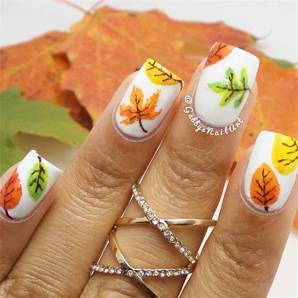 White Thanksgiving Nail Design - 20 Impressive Thanksgiving Nail Designs - Pretty Designs
