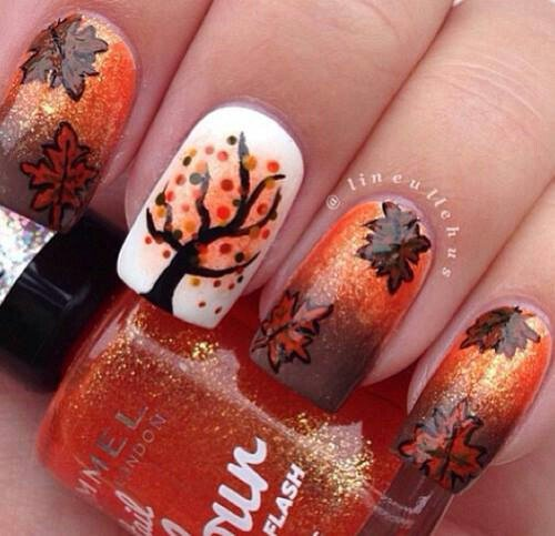 Thanksgiving Nail Design - 20 Impressive Thanksgiving Nail Designs - Pretty Designs