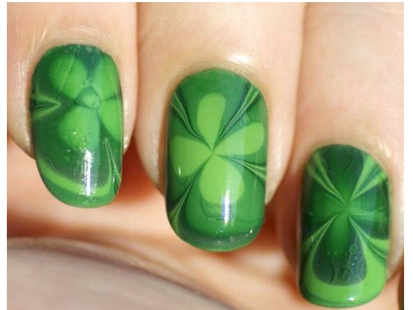 Tie Dye Shamrock Nails