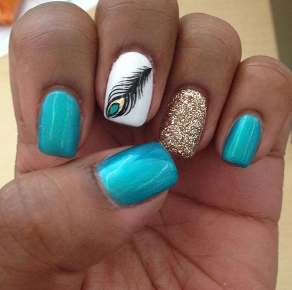 Tribal Feather Nail Design
