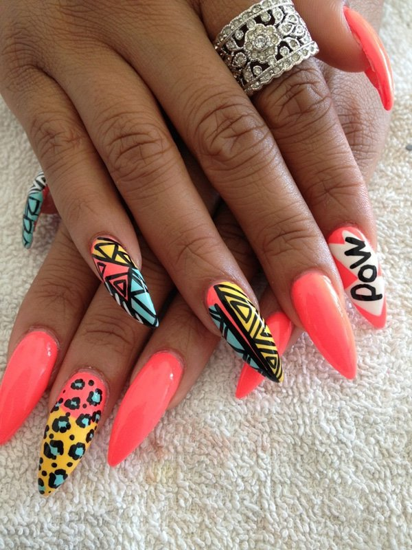 Tribal Leopard Print Nail Design - 21 Wild Leopard Print Nail Designs For 2016 - Pretty Designs