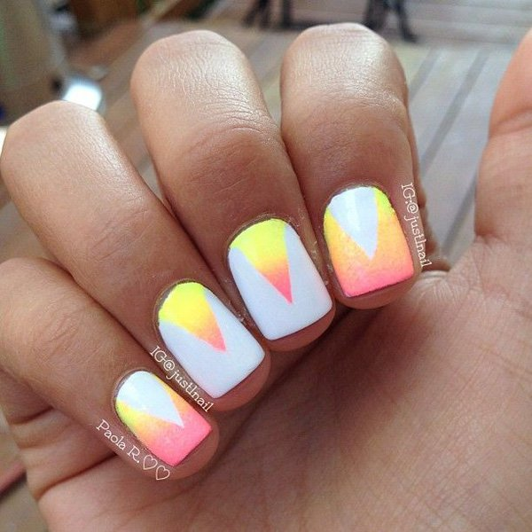V-Shaped Ombre Nail Design - 50 Best Ombre Nail Designs For 2018 - Ombre Nail Art Ideas - Pretty