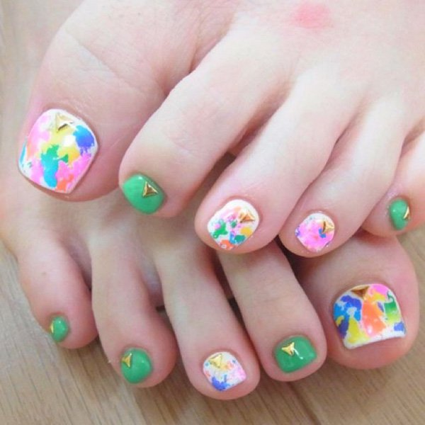 Watercolor Toenail Design