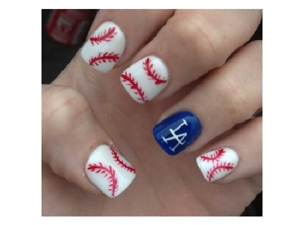 15 sporty baseball nail designs pretty designs white baseball nail design prinsesfo Gallery