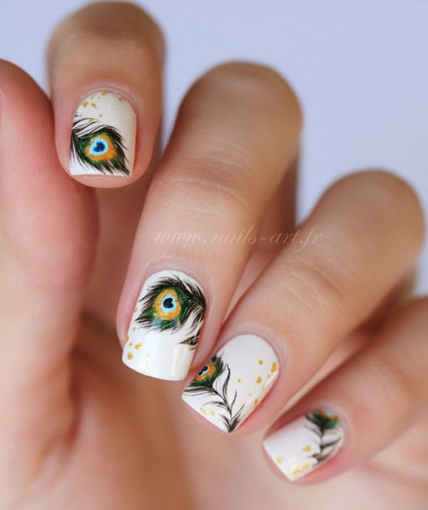 White Feather Nail Design