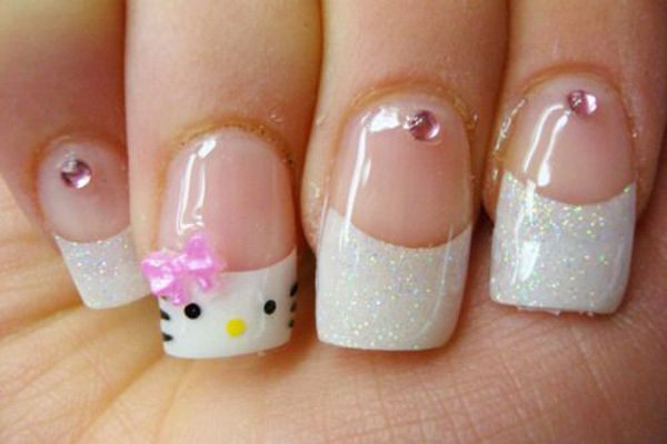French Tip Hello Kitty Nail Design