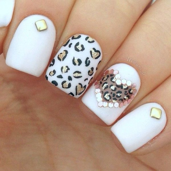 White Leopard Print Nail Design - 21 Wild Leopard Print Nail Designs For 2016 - Pretty Designs