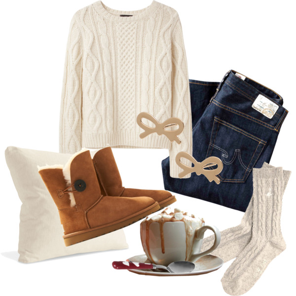 White Sweater with UGG Boots