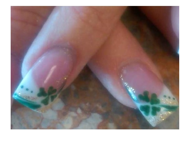 White Tipped Green Shamrock Nails