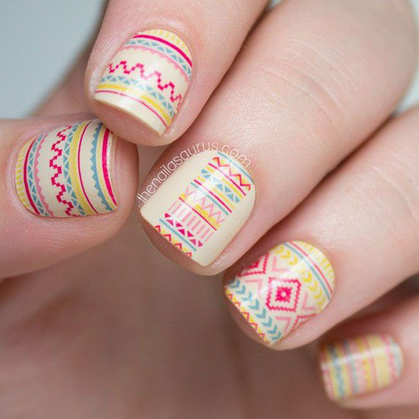 25 great tribal nail designs for 2016 pretty designs white tribal nail design prinsesfo Choice Image