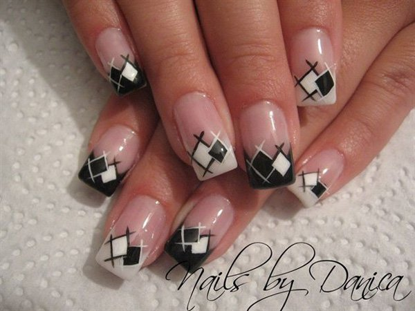 White and Black Plaid Nail Design