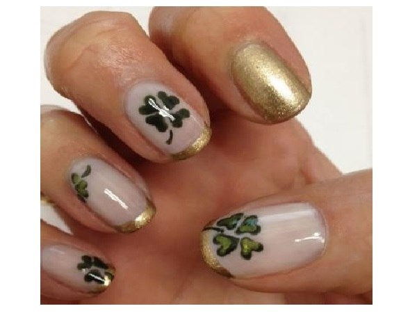 White and Gold Shamrock Nails