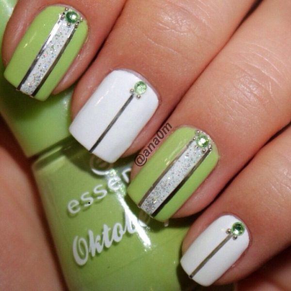 White and Green Nail Design