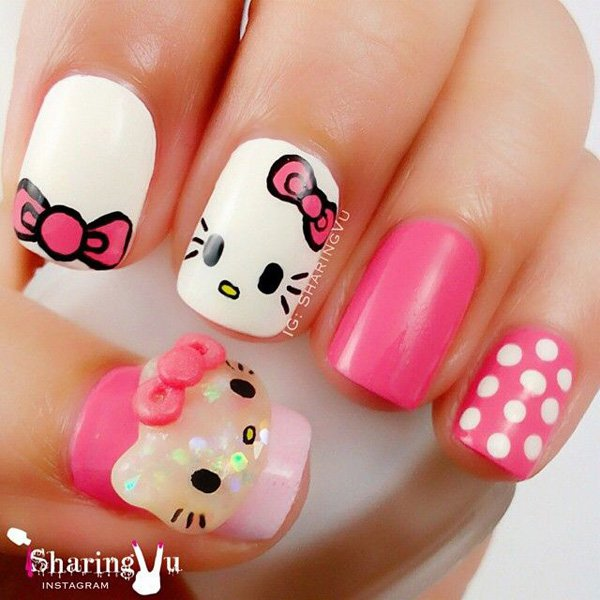 White And Pink Hello Kitty Nail Design