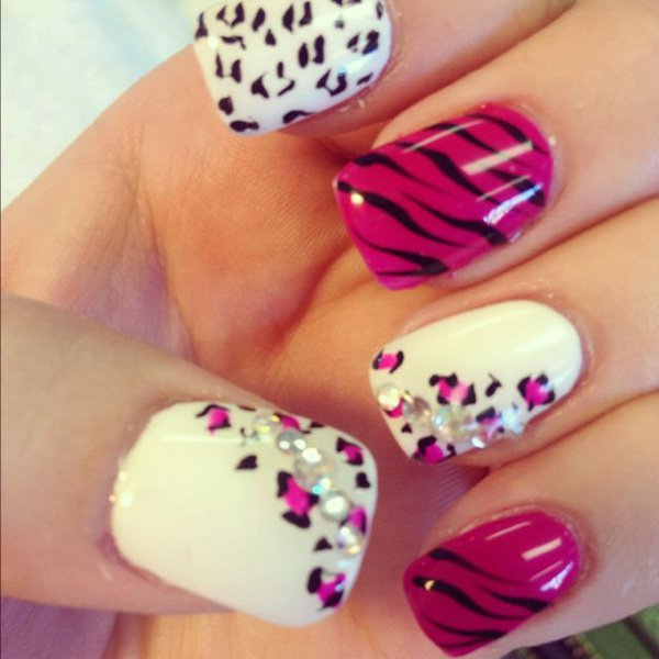 White and Pink Leopard Print Nail Design