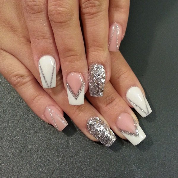 White and Silver Glitter Nail Design