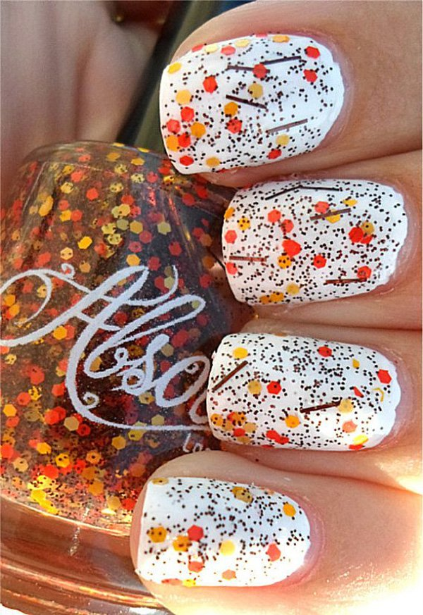 Wite Falling Leaves Nail Design