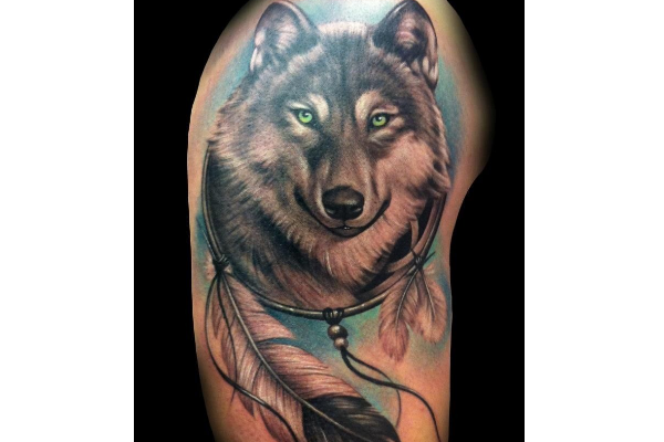 Wolf Dream Catcher Tattoo Design