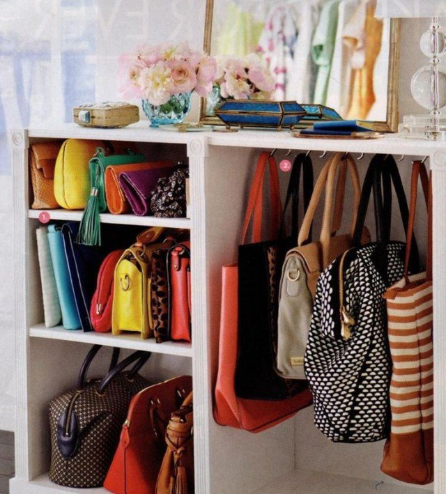 Wooden Open Shelf Cabinet for Bags
