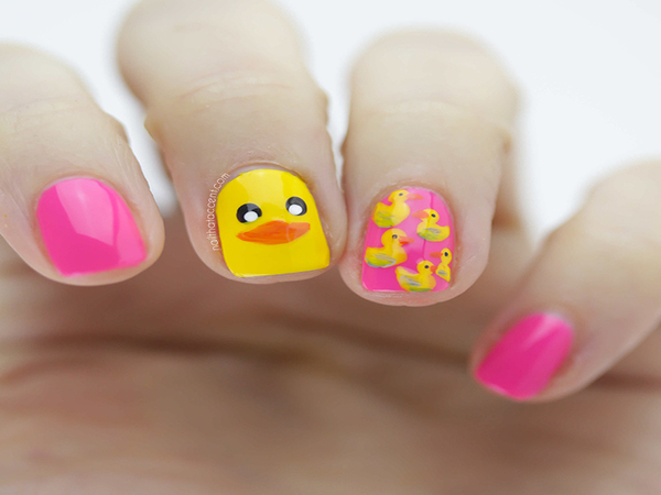 Yellow Duck Nail Design - 12 Cute Animal Nail Art Designs - Pretty Designs