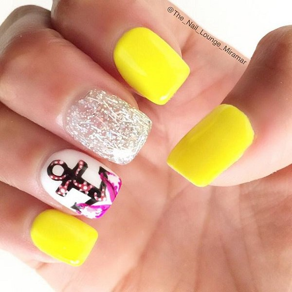 Yellow Glitter Nail Design