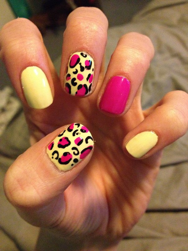 Yellow Leopard Print Nail Design
