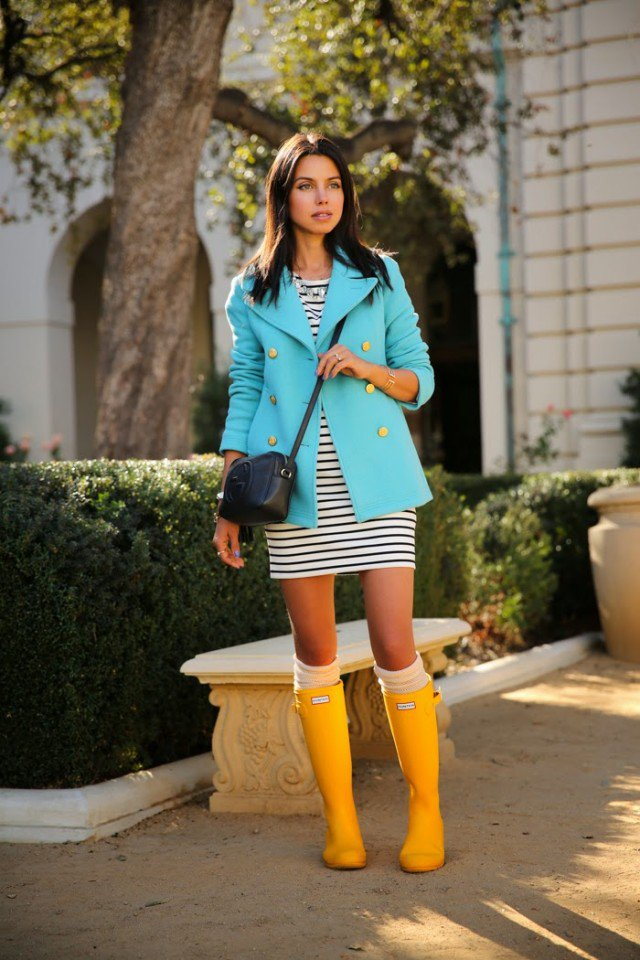 Yellow Rainy Boots with Striped Dress
