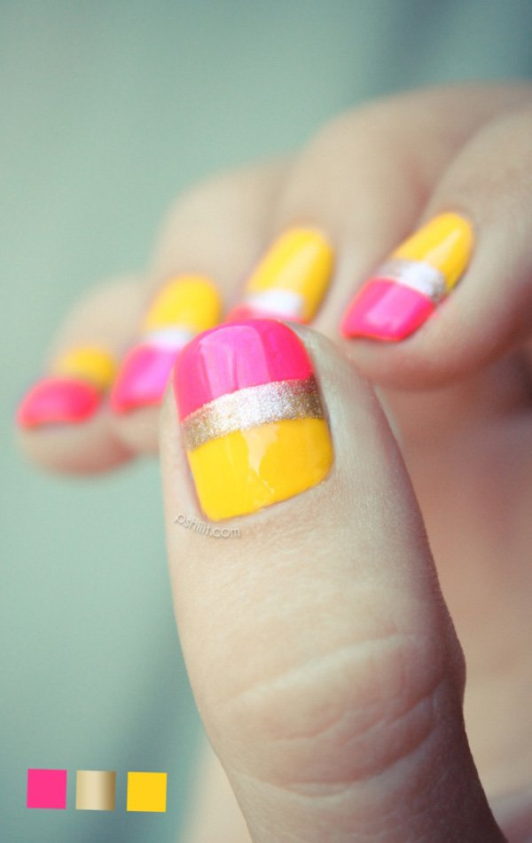 Yellow and Pink Metallic Nail Design
