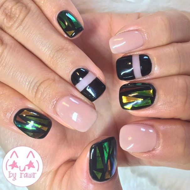 Beautiful Broken Glass Nails