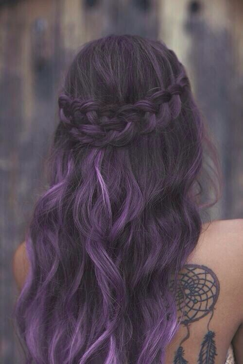 Half Up Half Down Hairstyle for Purple Hair