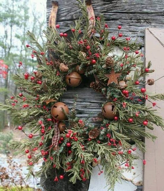 Christmas Wreath with Bells, Berries and Greenery