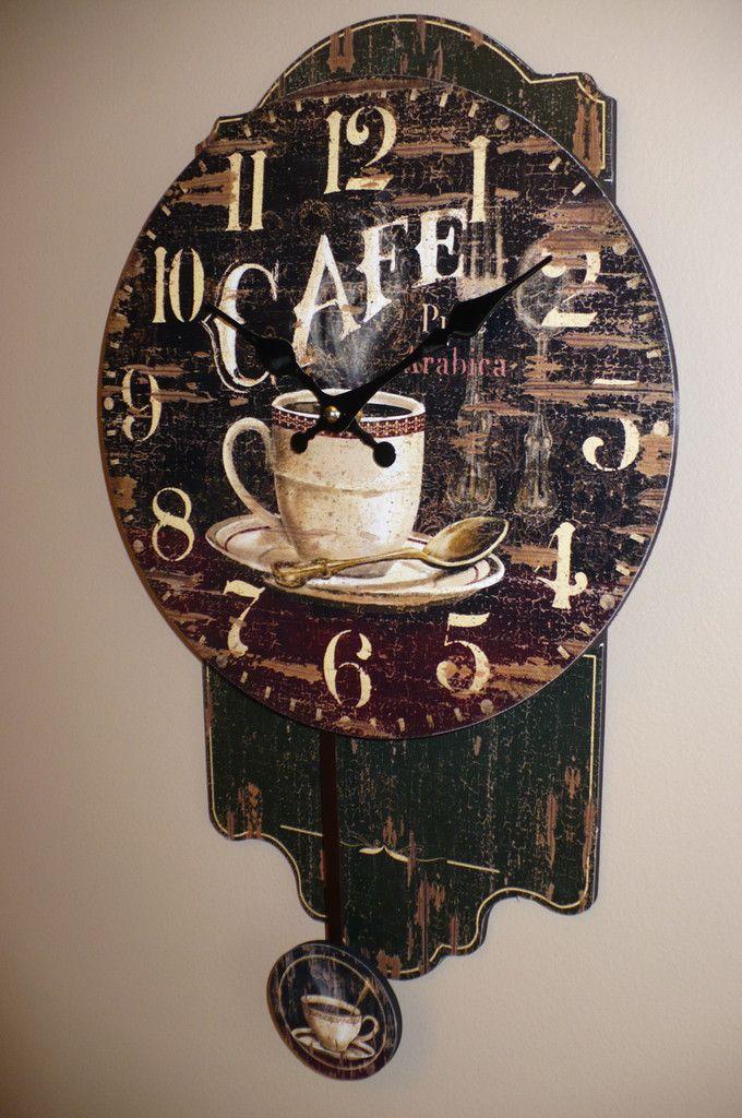 Coffee Theme Pendulum Clock